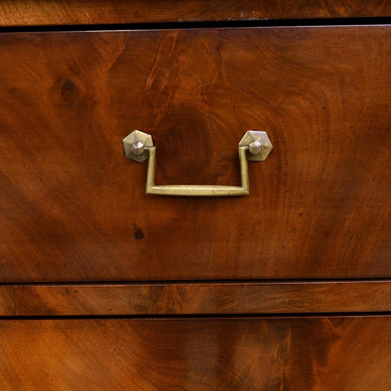 French Directoire West Indies Mahogany Chest of Drawers with Black Marble For Sale 8