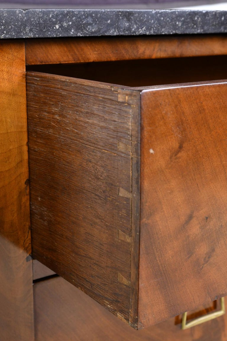 French Directoire West Indies Mahogany Chest of Drawers with Black Marble For Sale 12