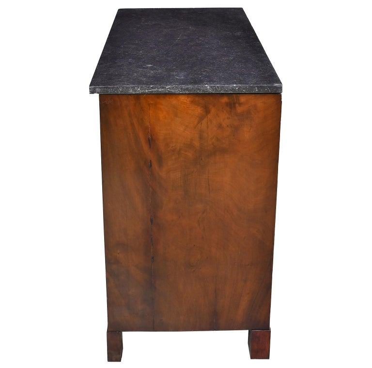 Late 18th Century French Directoire West Indies Mahogany Chest of Drawers with Black Marble For Sale