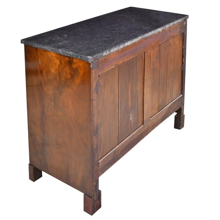 French Directoire West Indies Mahogany Chest of Drawers with Black Marble For Sale 2