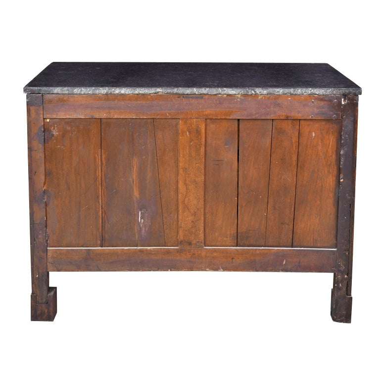 French Directoire West Indies Mahogany Chest of Drawers with Black Marble For Sale 3