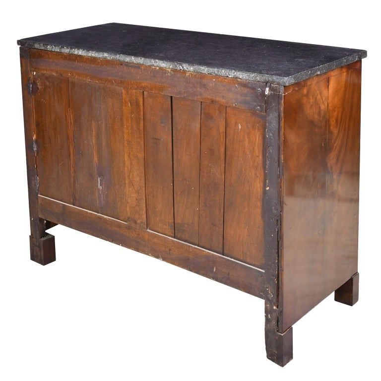 French Directoire West Indies Mahogany Chest of Drawers with Black Marble For Sale 4