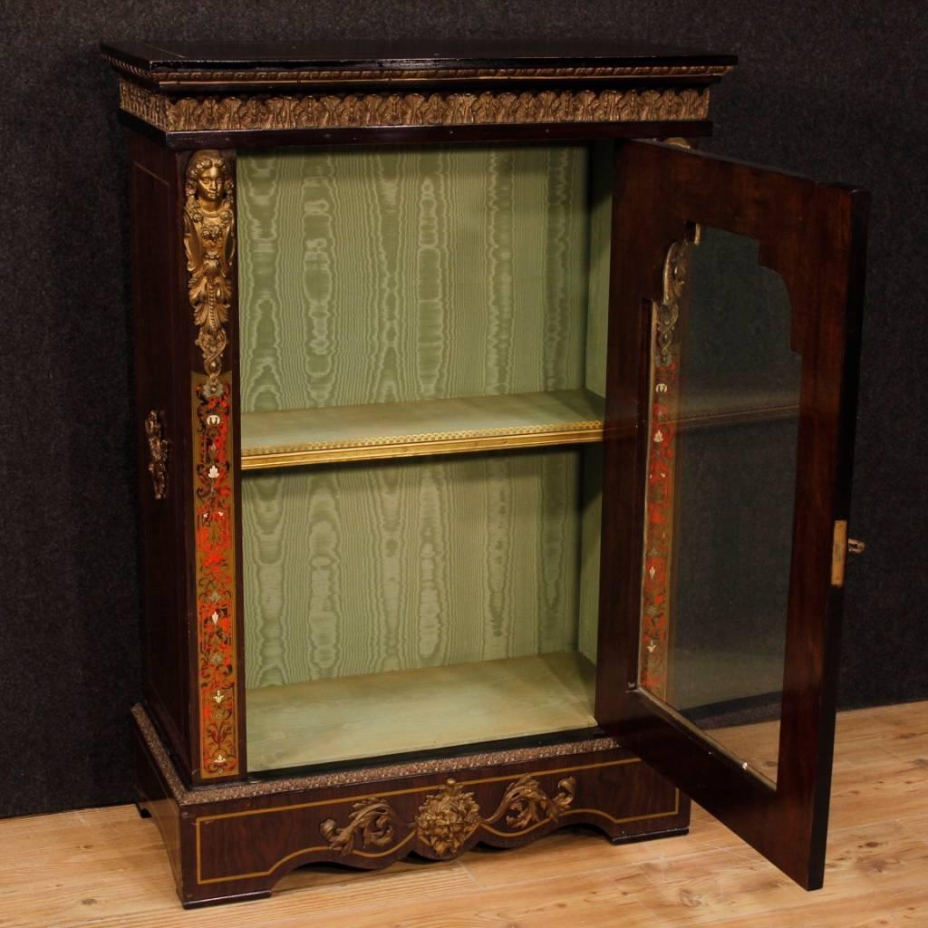 French Display Cabinet In Painted Wood With Brass And Bronzes In Boulle  Style For Sale 6