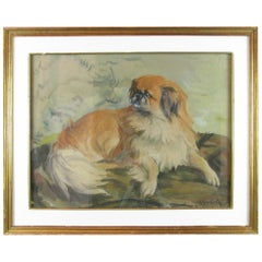 French Dog Painting 20th Century Pekingese Dog Portrait by A Gauthier
