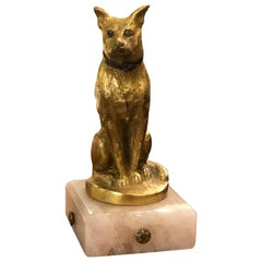 French Dog Paperweight with Gilt Bronze Detail and Marble Base