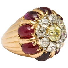 French Dome Cocktail Ring with Rubies and Diamonds