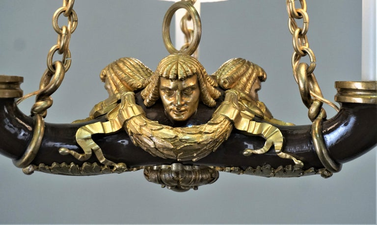 French Doré Bronze Early 20th Century Empire  Style Chandelier In Good Condition For Sale In Fairfax, VA
