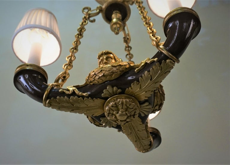 French Doré Bronze Early 20th Century Empire  Style Chandelier For Sale 5