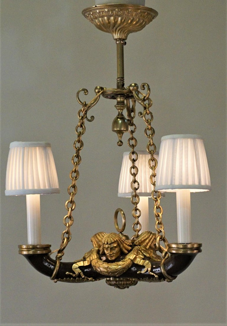 French Doré Bronze Early 20th Century Empire  Style Chandelier For Sale 2