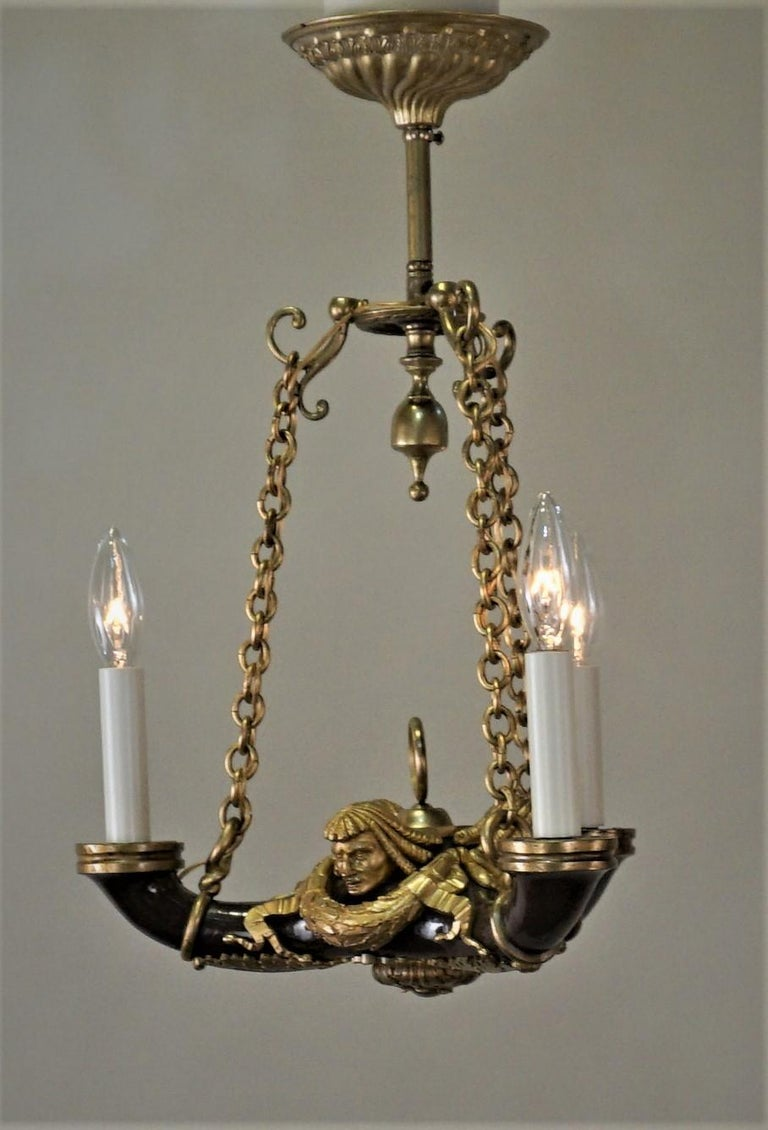 French Doré Bronze Early 20th Century Empire  Style Chandelier For Sale 4