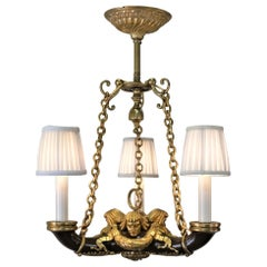 French Doré Bronze Early 20th Century Empire  Style Chandelier