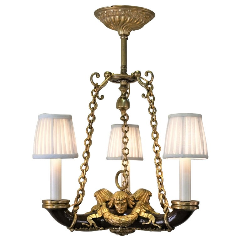 French Doré Bronze Early 20th Century Empire  Style Chandelier For Sale
