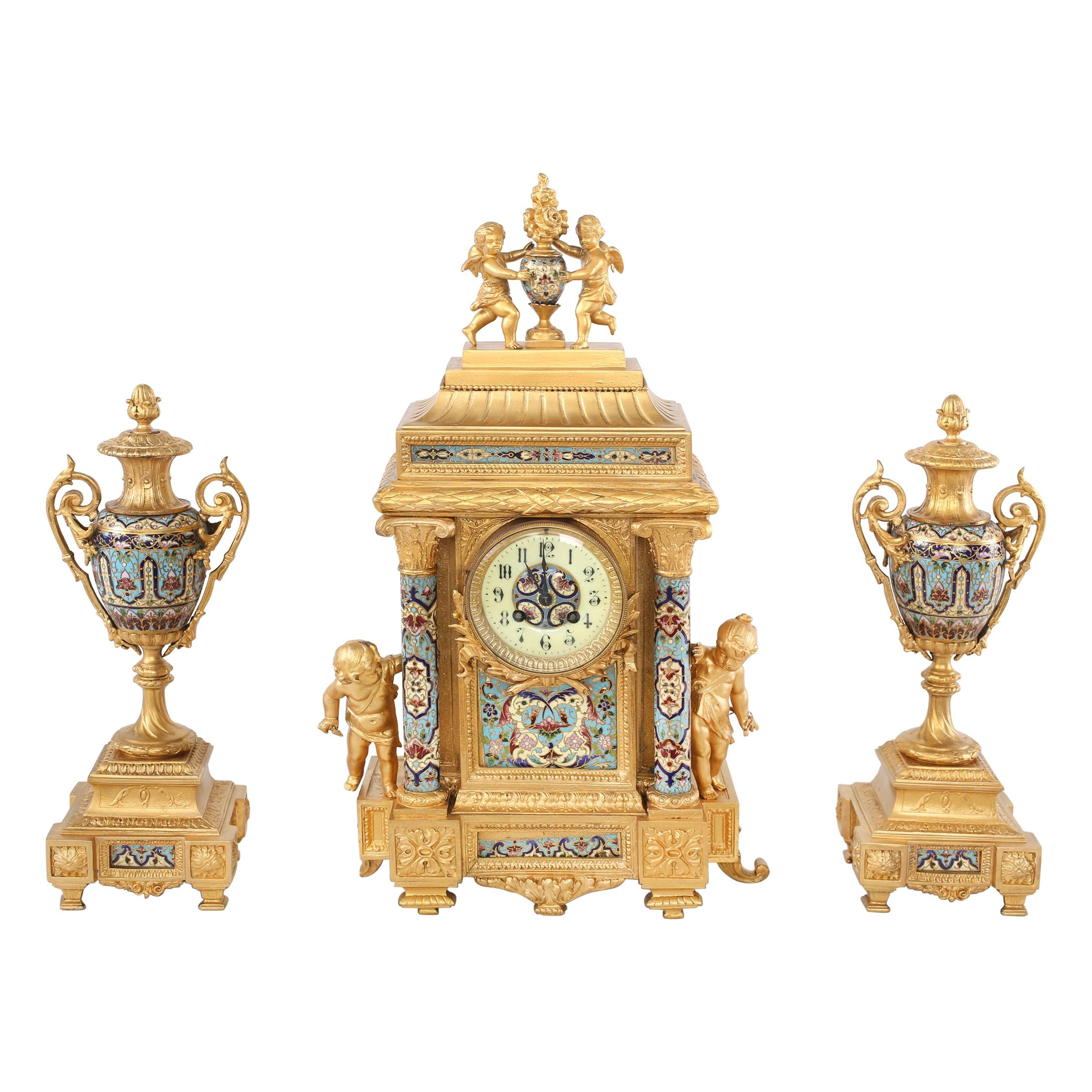 French Dore Bronze Mounted / Champleve  Garniture Set