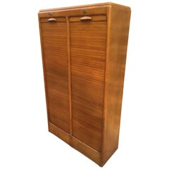 French Double Curtains Oak Document Cabinet, 1950s