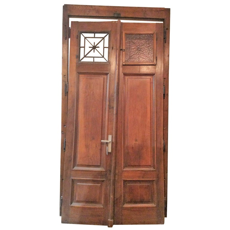 French Double Doors With Ironwork Transom Windows Circa 1860 For