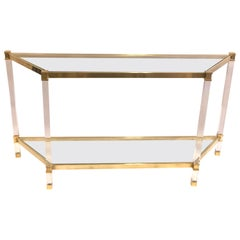 French Double Level Lucite, Brass and Glass Trapezoid Form Console / Sofa Table