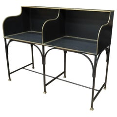 French Double Seat Metal and Brass Bank Desk Counter, Circa 1910