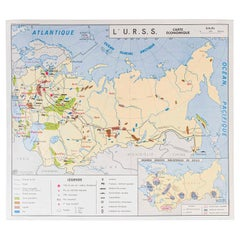 French Double Sided Educational School Poster of the Economies of USSR and China