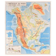 French Double Sided Educational School Poster Of The Physical Geography Of North