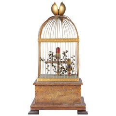 19th Century French Double Singing Automaton Singing Birds in Cage