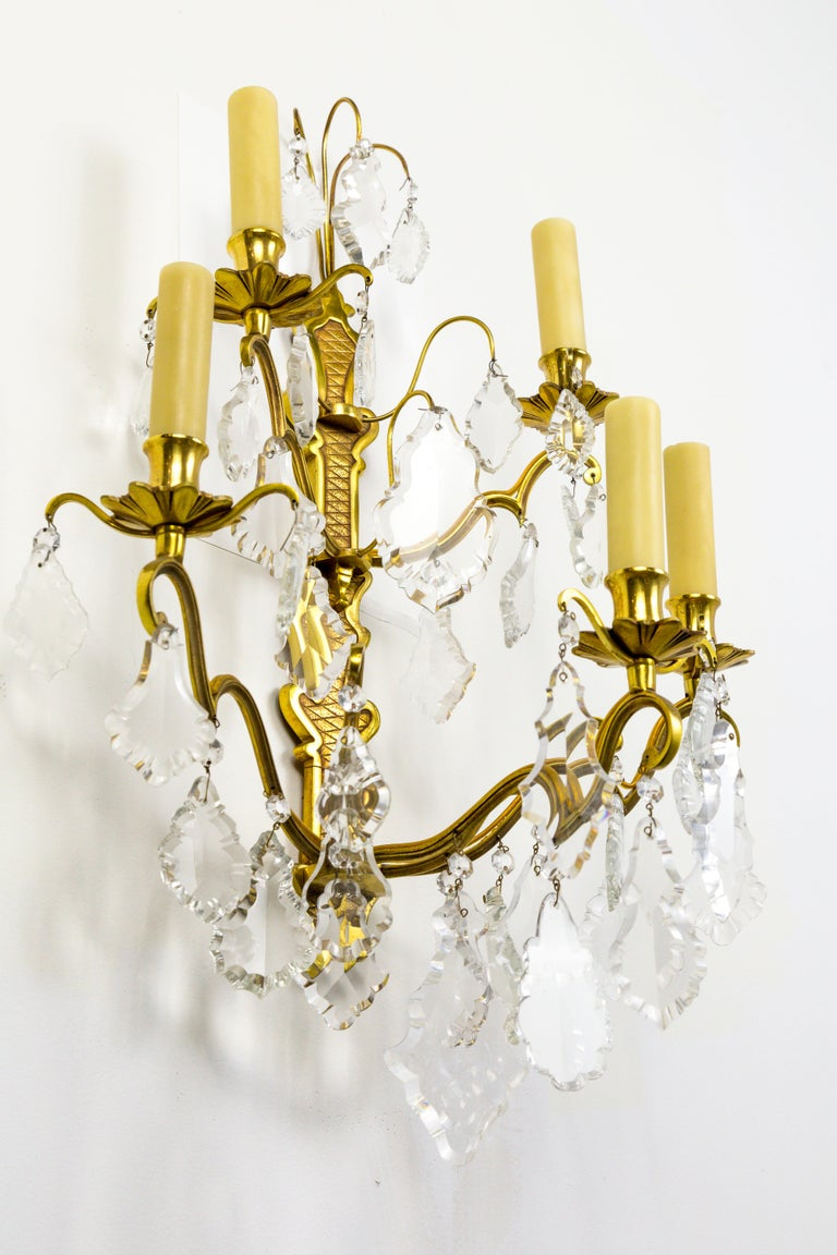 French Double Tier Crystal Candelabra Sconce For Sale 5