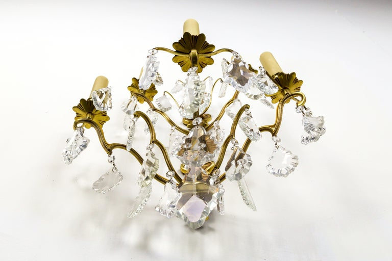 French Double Tier Crystal Candelabra Sconce For Sale 3
