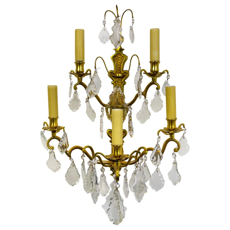 French Double Tier Crystal Candelabra Sconce For Sale