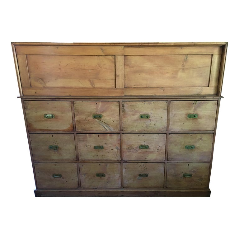 French Drapery Makers Campaign Cabinet, circa 1900s For Sale