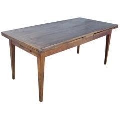 French Drawleaf Farm Table, Oak Top Chestnut Base