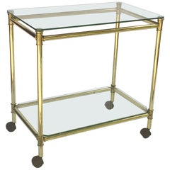 French Drinks Cart or Trolley of Brass and Glass