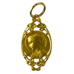 French Dropsy Virgin Mary 18K Yellow Gold Charm Pendant