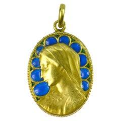 French Dropsy Virgin Mary Plique a Jour Enamel 18K Yellow Gold Charm Pendant