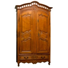 French Early 18th Century Cherry and Walnut Wedding Armoire from Brittany