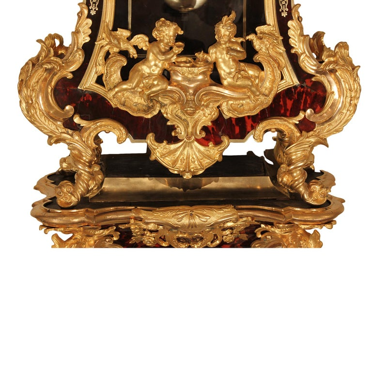 French Early 18th Century Louis XV Period Wall Mounted Clock In Excellent Condition For Sale In West Palm Beach, FL
