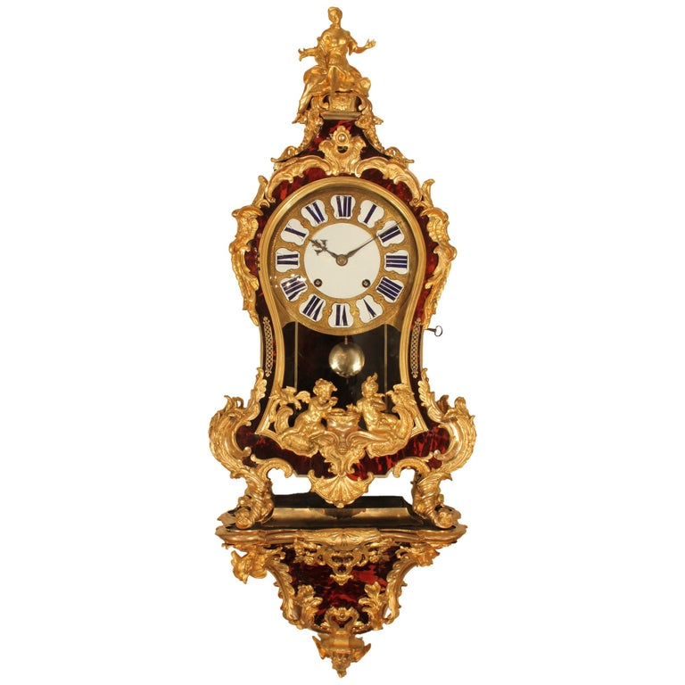 French early 18th century Louis XV period wall mounted clock For Sale