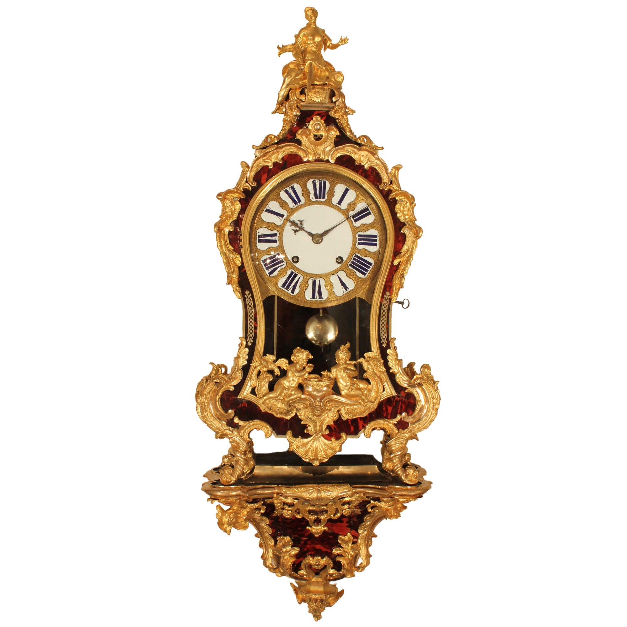 French Early 18th Century Louis XV Period Wall Mounted Clock