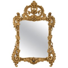 French Early 18th Century Regence Period Giltwood Mirror, circa 1720