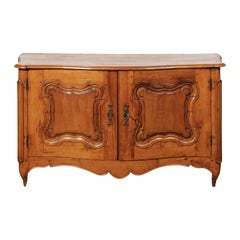 French Early 18th Century Régence Period Pearwood Buffet from Burgundy