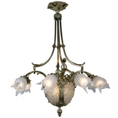 French Early 1920s Bronze and Crystal Chandelier