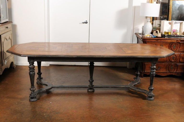 French Early 19th Century Baroque Style Dining Table With Polygonal Parquet Top