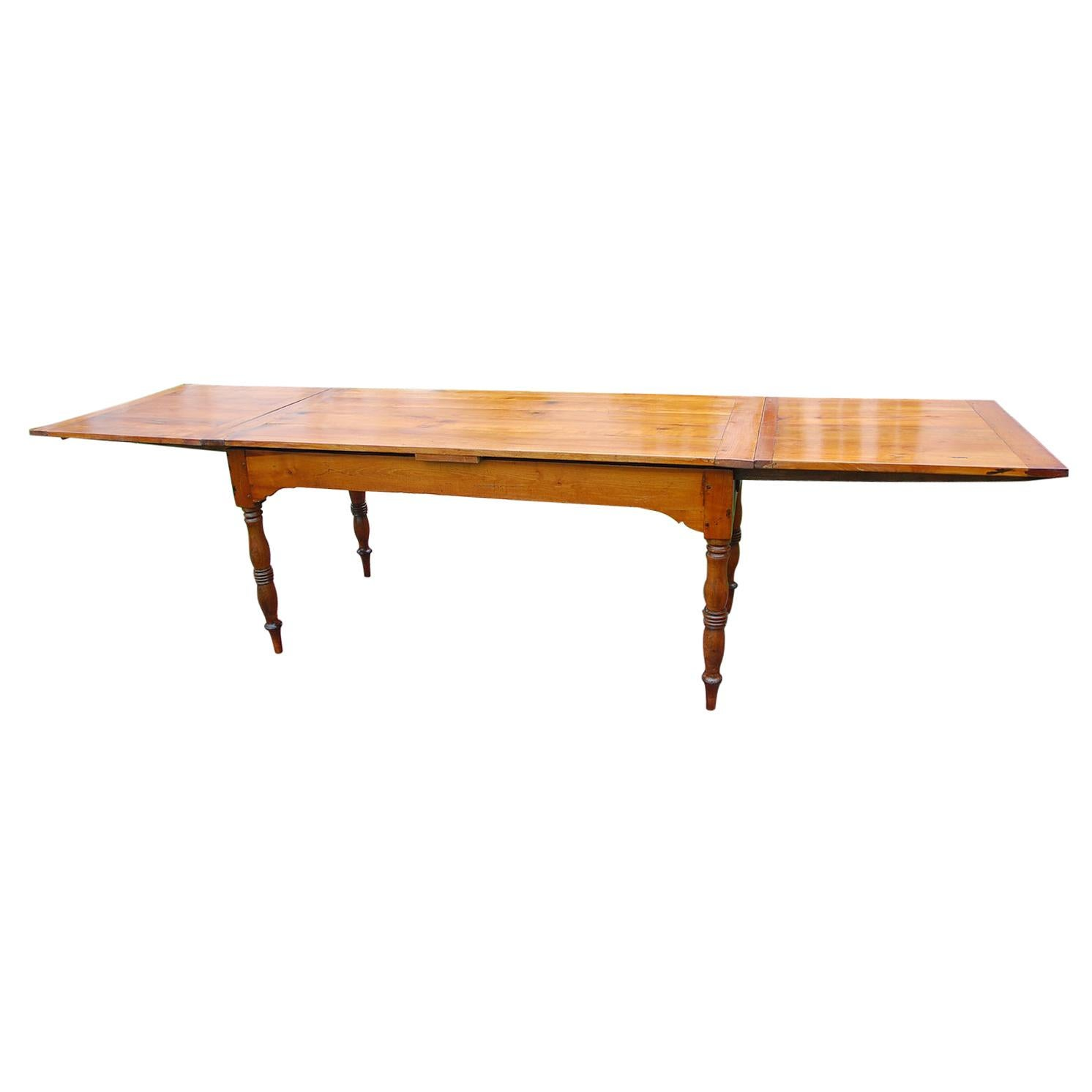 French Early 19th Century Farmhouse Cherry Double Extending Table Turned legs