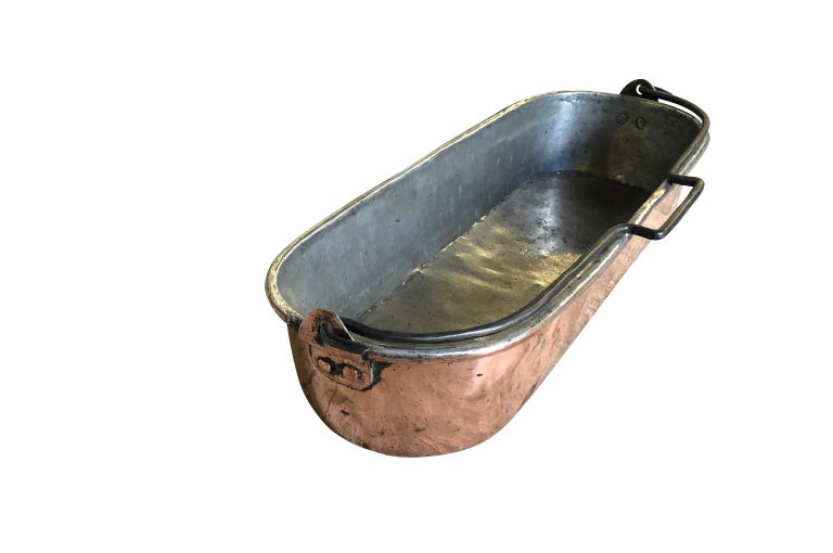 French Early 19th Century Copper Fish Pan For Sale 1