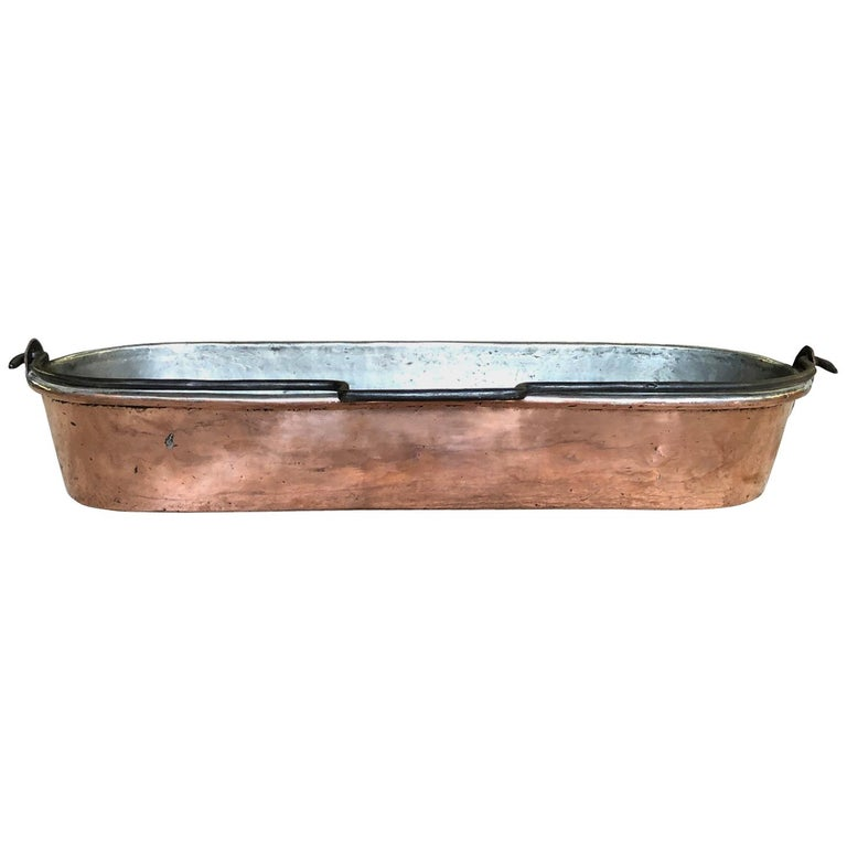 French Early 19th Century Copper Fish Pan For Sale