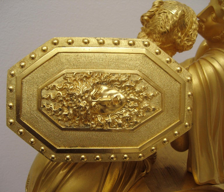 French Early 19th Century Empire Gilt Bronze Mantel Clock by Claude Galle In Good Condition For Sale In Worpswede / Bremen, DE