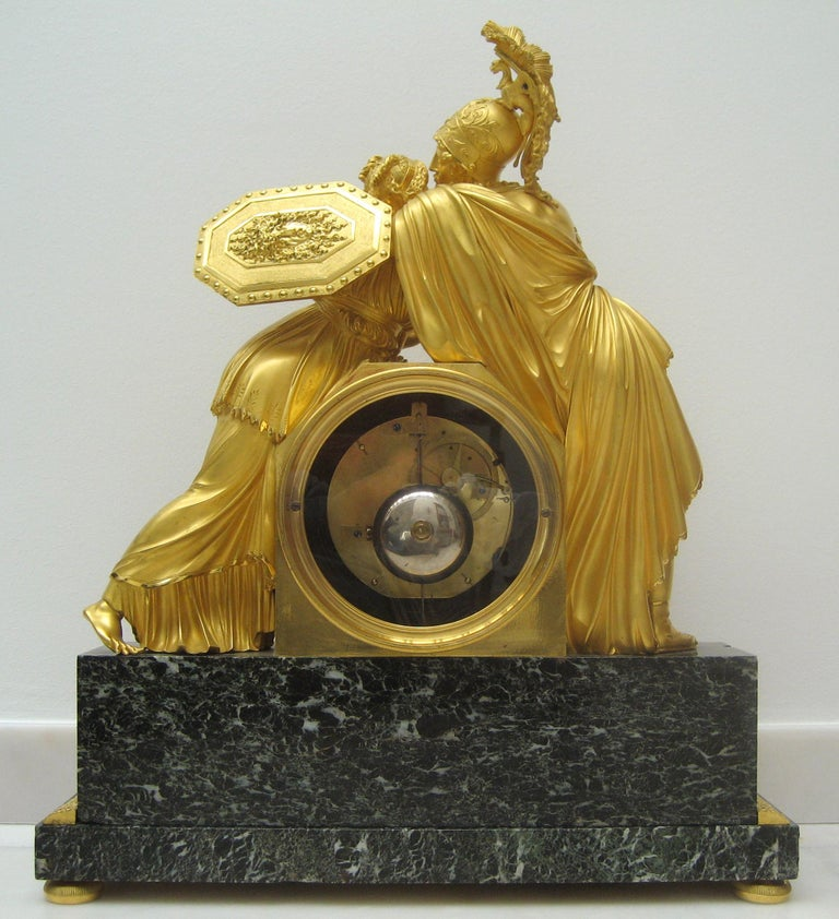 Marble French Early 19th Century Empire Gilt Bronze Mantel Clock by Claude Galle For Sale