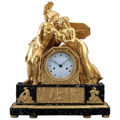 French Early 19th Century Empire Gilt Bronze Mantel Clock by Claude Galle