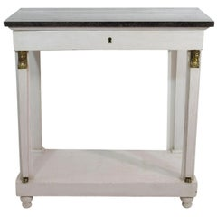 French Early 19th Century Empire Marble-Top Console Table