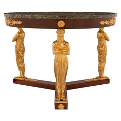 French Early 19th Century Empire Neoclassical Style Center Table