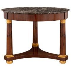 French Early 19th Century Empire Style Mahogany, Ormolu Center Table