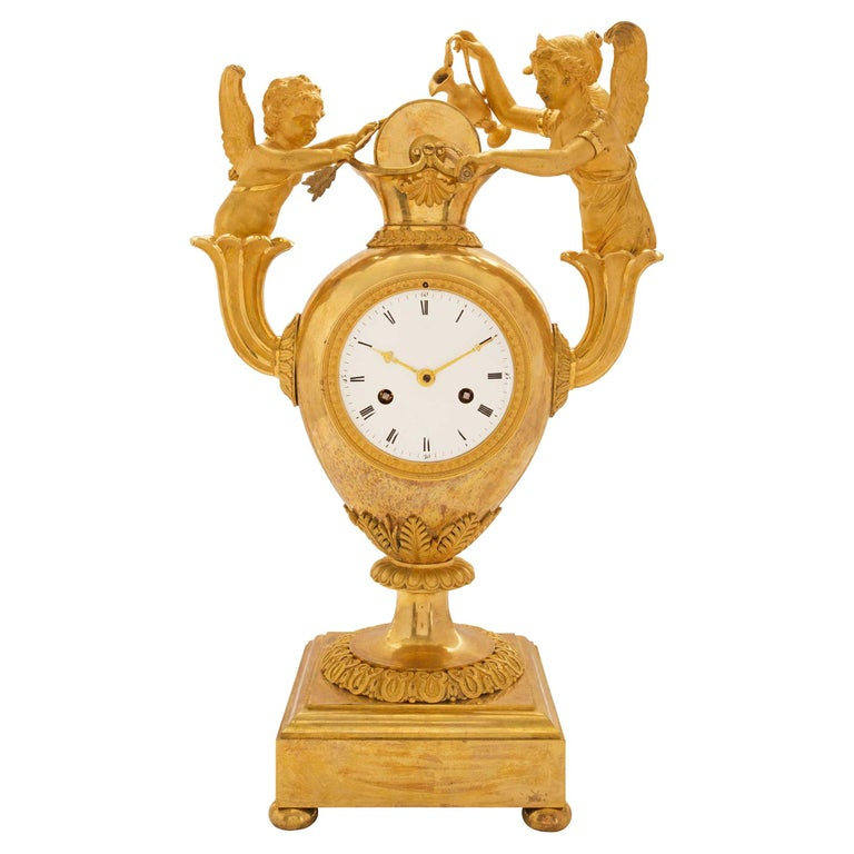 French Early 19th Century First Empire Ormolu Clock For Sale